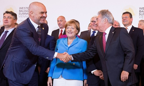 Left to right: Croatian prime minister Zoran Milanovic, Albanian prime minister Edi Rama, German chancellor Angela Merkel and Austrian president Heinz Fischer at the Western Balkans summit in Vienna on 27 August 2015. 'Finding an EU-wide solution to the greatest movement of peoples since the second world war is an urgent priority.' Photo: Georg Hochmuth/EPA
