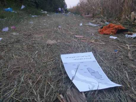 Leaflet given to refugees while in Serbia. At a border crossing near Bapska, Croatia, volunteers distributed fliers telling refugees they were in Serbia and would get passage to Austria. Photo: Max J. Rosenthal