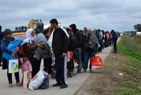 Refugees entering Strosinci, Croatia, Satrurday 26 September 2015