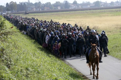 Refugees and migrants Dobova, Slovenia, at Croatian border 22 October 2015 Phopto: Reuters