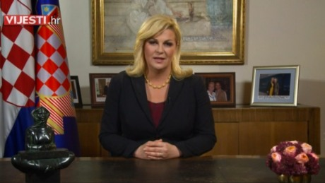 President Kolinda Grabar-Kitarovic Announcing Croatian General Elections Photo: Screenshot dnevnik.hr 5 October 2015