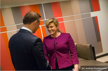 Croatia's President Kolinda Grabar-Kitarovic hosting the 29 September 2015 Adriatic-Baltic-Black Sea Group meeting at UN