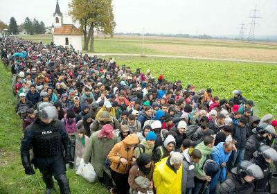 October 2015 Refugees and migrants making their way across Croatia to Slovenia