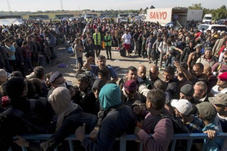 Migrants and refugees at camp Opatovac Croatia Saturday 17 October 2015