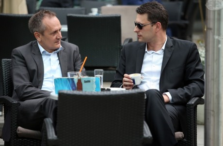 """Left: Drago Prgomet  Right: Bozo Petrov two leaders of """"Bridge"""" (Most) group of independents that won enough parliamentary seats to influence the formation of government in Croatia Photo: Robert Anic/Pixsell"""