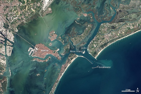 Landsat image Venice depicting MOSE project