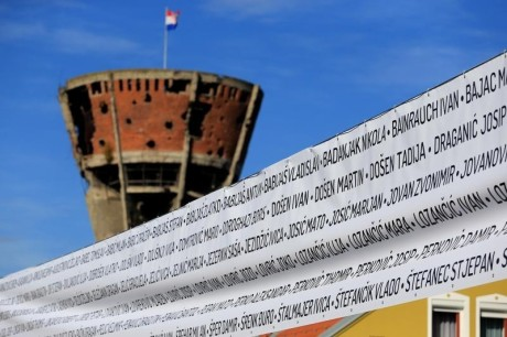 Vukovar Tower and banner with names of the victims of 1991 Serb aggression Photo: Davor Javorovic/Pixsell