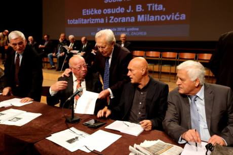 31 October 2015 Zagreb, Croatia Dr Zvonimir Separovic (middle) confers with members of Croatian National Ethical Tribunal (dr Zdravko Tomac - left and Zvonimir Hodak - right) regartding proceedings of the day condemnation oif crimes of Josip Broz Tito Photo: Oskar Sarunic