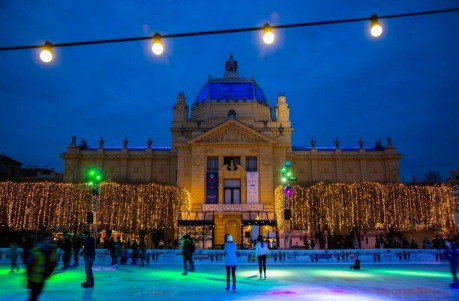 Ice Rink at King Tomislav Square Zagreb Croatia
