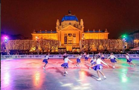 Ice-Skating at King Tomislav Square Zagreb Croatia Christmas 2015
