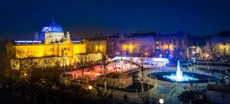 Ice Rink for Christmas season Zagreb Croatia King Tomislav Square