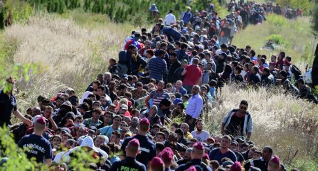 Refugees crossing into European countries anywhere they can away from official borders creating chaos and disorder Photo: AFP/ Attila Kisenbeck