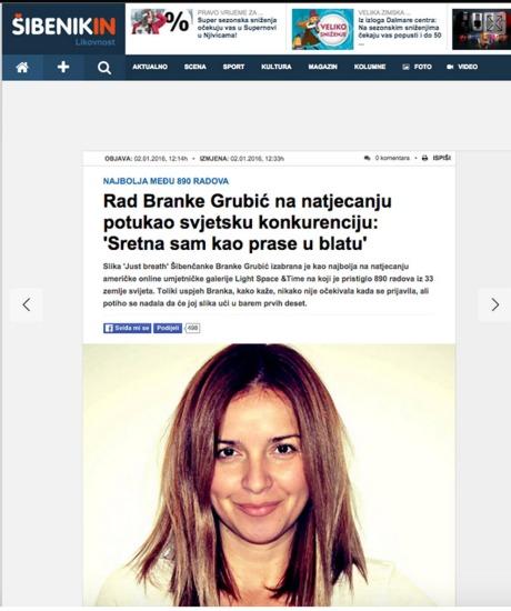 "Reacting to her win Branka Grubic said: ""I'm as happy as pig in mud!"" Photo: Screenshot www.brankagrubic.com"