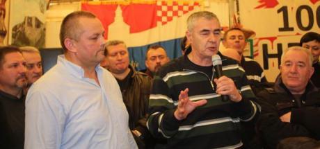 Retired Colonel Mijo Crnoja (left) Retired General Zeljko Glasnovic (right) speaking in veterans' protest tent Zagreb, Croatia Photo: hdz.hr