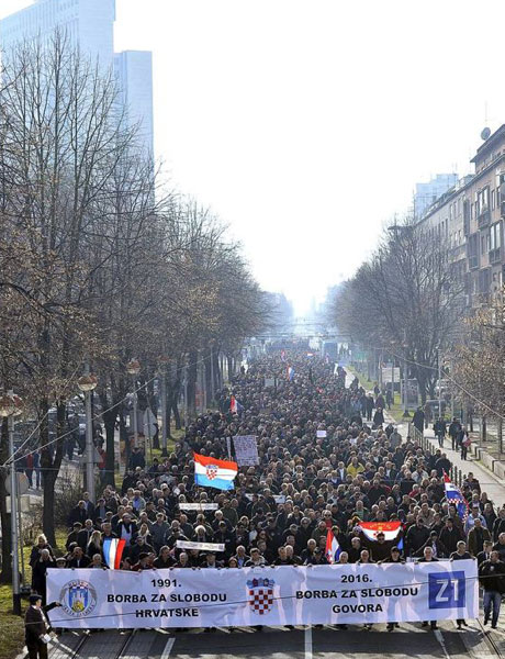 """Protest for freedom of speech for support of journalist  Marko Juric and Z1TV is """"bigger than Ben Hur"""" on 26 January 2016 Zagreb Croatia Way to go! Photo: Boris Kovacev/CroPix"""