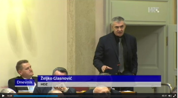 Zeljko Glasnovic Calling for lustration in media in Croatian Parliament 28 January 2016 Photo: Screenshot HRT TV News