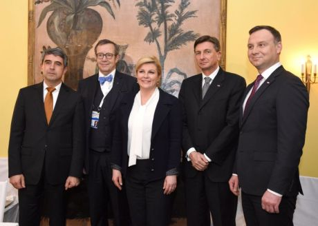 Baltic-Adriatic-Black Sea initiative National Security Meeting February 2016 Munich Germany From right:Andrzej Dude (Poland), Borut Pahor (Slovenia); Kolinda Grabar-Kitarovic (Croatia); Thomas Hendrik Ilves (Estonia); Rosen Plevneliev (Bulgaria)