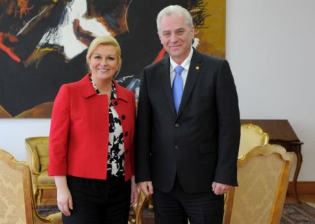 President Kolinda Grabar Kitarovic met for first official meeting with State Attorney Dinko Cvitan in March 2015 Photo: HINA