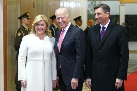 From left: President of Croatia Kolinda Grabar Kitarovic Jo Biden, US Vice-President Borut Pahor, President of Slovenia in Croatia November 2015 Photo: Zeljko Lukunic/PIXSELL