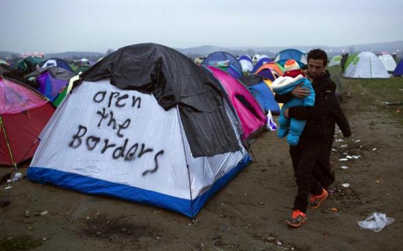 Idomeni camp Greece near Macedonia border 12 March 2016