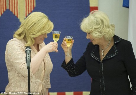 Camilla Duchess of Cornwall and Kolinda Grabar-Kitarovic President of Croatia in a friendly exchange Photo: Tim Rooke/REX/Shuttlestock
