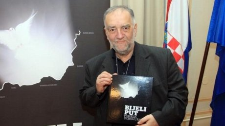 """Dr. Slobodan Lang 2013 launching book of records for """"White Path""""/Bijeli Put in Croatian humanitarian aid action in 1993"""