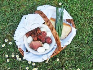 Traditional Croatian Easter Breakfast Blessed at church before eating
