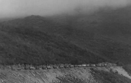 "Dr. Slobodan Lang's ""White Path"" humanitarian aid convoy to Nova Bila and Silver Bosnia makes its way through treacherous Bosnian terrain - 1993"