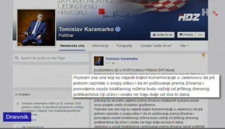 First Deputy Prime Minister of Croatia Tomislav Karamako's Facebook status Photo: Screenshot HRT News 9 April 2016