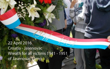 For all those that perished here at Jasenovac between 1941 and 1951 Ribbon on wreath laid 22 April 2016 Photo: Maxportal
