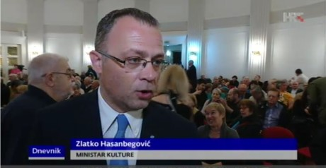 Minister of Culture, Croatia Zlatko Hasanbegovic Photo: Screenshot HRT news 9 April 2016