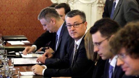 Left: Tomislav Karamarko, First Deputy Prime Minister of Croatia Centre: Tihomir Oreskovic, Croatia's Prime Minister Right: Bozo Petrov, Croatia's Deputy Prime Minister