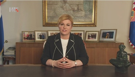 Croatia's President Kolinda Grabar-Kitarovic Addresses the Nation 9 May 2016 Photo: Screenshot HRT TV news