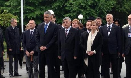 Tomislav Karamarko, First Deputy Prime Minister (front left) and Zeljko Reiner (front right) President of Croatian Parliament Pay respects to victims of communist crimes at Bleiburg Saturday 14 May 2016 Photo: Vlada RH/Twitter