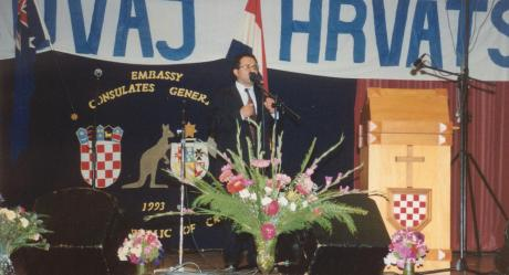 Dr Andrew Theophanous February 1993 speaks at the celebration of the opening of Croatian Diplomatic and Consular Missions In Australia