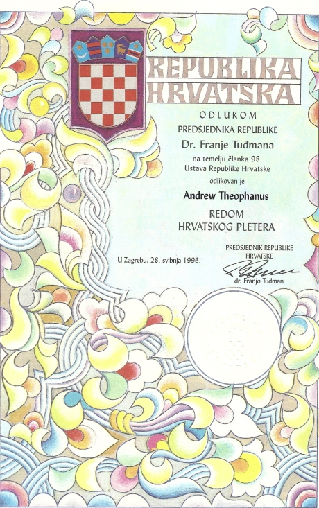 Order of Croatian Interlace Awarded to Dr Andrew Theophanous, 1996