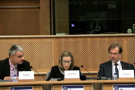 Dr Esther Gitman (centre) presents Archbishop Aloysius (Alojzije) Stepinac to EU Parliament conference June 2016 Photo: eppgroup.eu