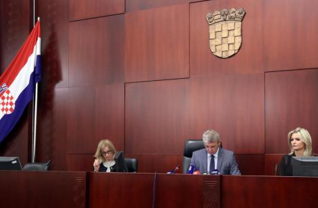 Zagreb County Court Friday 22 July 2016 centre: Judge Ivan Turudic, presiding Quashed 1946 communist Verdict against Blessed Aloysius Stepinac Photo: HINA/ Damir Sencar/ds