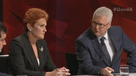 Senator Pauline Hanson and Tony Jones Photo: ABC TV Q&A Screenshot 19 July 2016