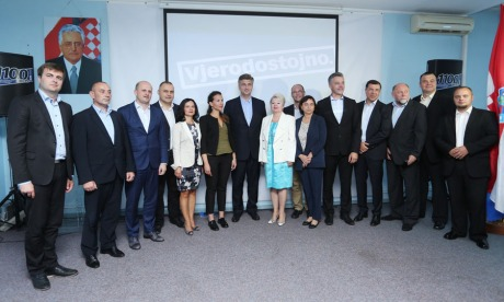 "HDZ - Croatian Democratic Union with leader Andrej Plenkovic (Centre) Have a great slogan in 2016 elections: ""With Veracity"" Photo: Kristina Stedul/Pixsell"