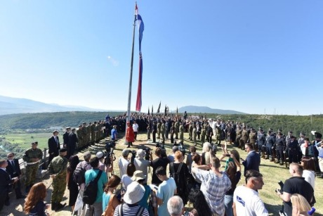 Giant Croatian flag raised at Knin 5 August 2016 Photo: Hrvoje Jelavic/Pixsell