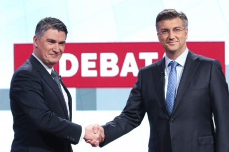 Zoran Milanovic (L), Social Democrats/SDP Andrej Plenkovic (R), Croatian Democratic Union/HDZ