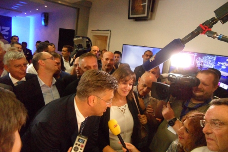 Croatian Democratic Union/HDZ Headquarters on election night 11 September 2016 with president Andrej Plenkovic in centre Photo: Connor Vlakancic