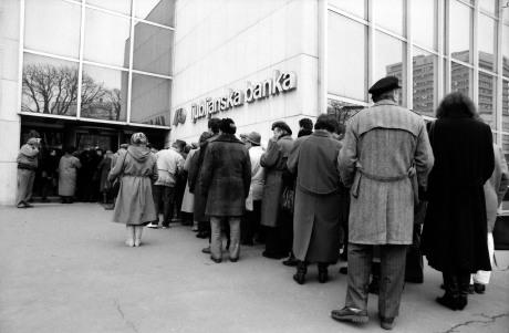 "Slovenian Ljubljanska Banka ""ran"" from Croatia taking people's savings with it Photo: Davor Visnjic/ Pixsell"