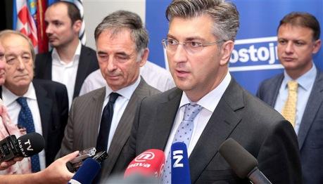 From Left/Front row: Furio Radin, Milorad Pupovac, Andrej Plenkovic Photo: V.P.P./ Hina