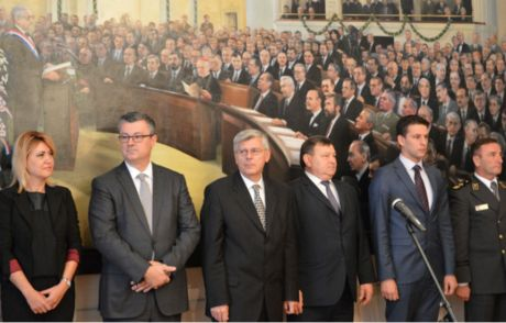 Croatian Parliament Friday 7 October 2016 Celebrating 25 years of independence Centre left: outgoing PM Tihomir Oreskovic and Zeljko Reiner, President of Croatian Parliament Photo: sabor.hr