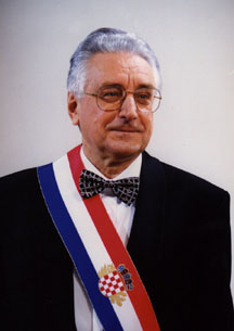 Croatian first president Franjo Tudjman at the inauguration of the Croatian Parliament 30 May 1990