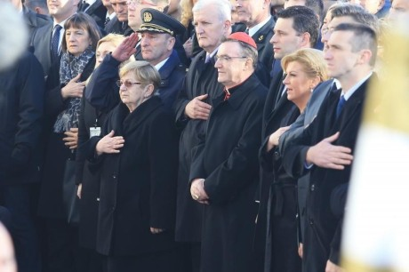 From Left: Hero, Dr Vesna Bosanac of Vukovar Hospital 1991 Cardinal Josip Bozanic, Archbishop of Zagreb, Kolinda Grabar-Kitarovic, President of Croatia Ivan Penava, Mayor of Vukovar at Vukovar 18 November 2016 Photo:Marko Mrkonjic/Pixsell