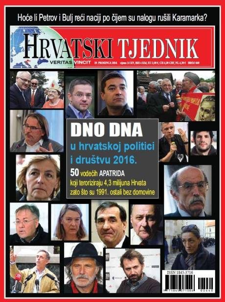 "Cover Page ""Hrvatski Tjednik""/ Croatian Weekly featuring article on leading communists in Croatia still terrorising the nation daily Photo courtesy: Ivica Marijacic, Hrvatski Tjednik"